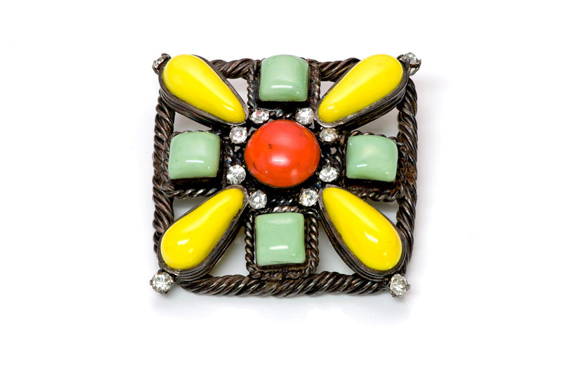 Chanel Yellow Green Orange Gripoix Glass Pendant Brooch
