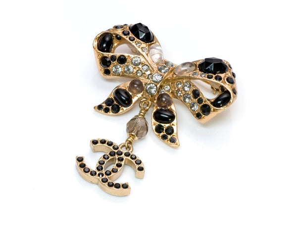 Chanel CC 2003 Maison Gripoix Bow Crystal Brooch