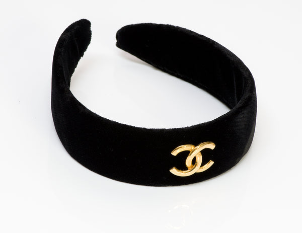 CHANEL CC Black Velvet Hair Headband 1