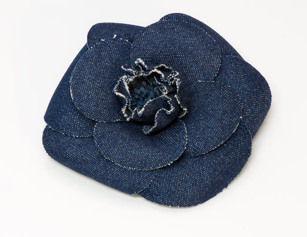 Chanel Blue Denim Camellia Flower Brooch