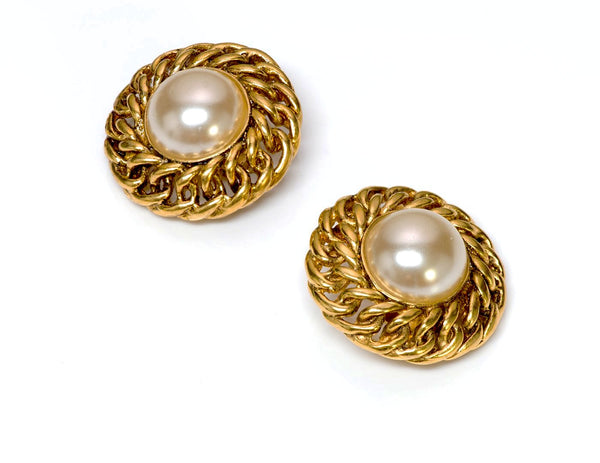 Chanel Gold Tone Chain Pearl Earrings 1