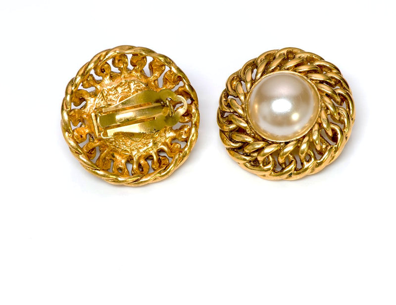 Chanel 1980's Chain Pearl Earrings