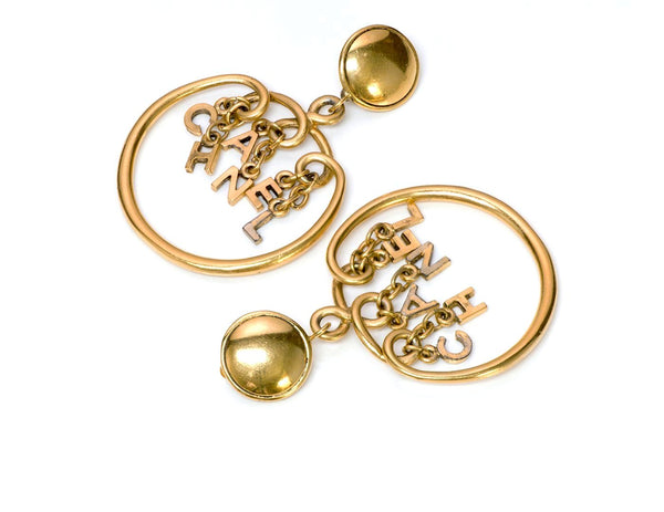Chanel 1980's Gold Tone Letter Hoop Earrings 2