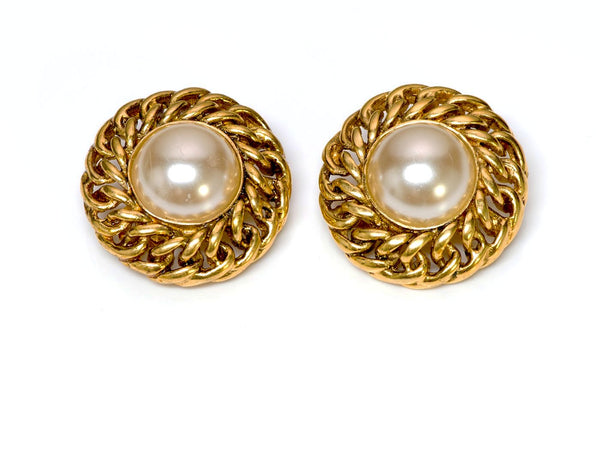 Chanel Gold Tone Chain Pearl Earrings