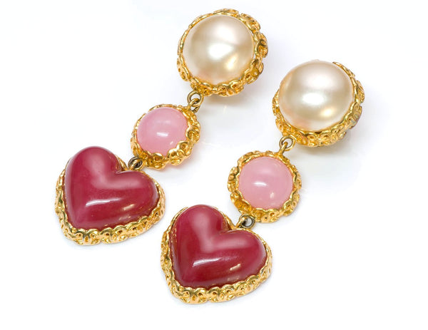Chanel CC Gripoix Heart Glass Pearl Earrings