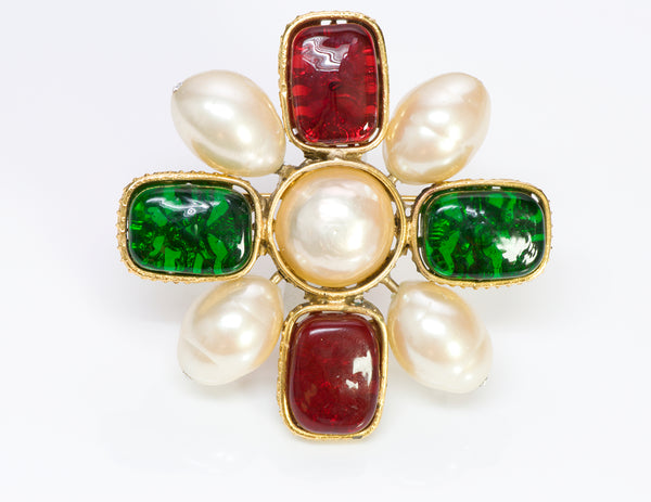 Chanel 1980's Byzantine Style Gripoix Glass Pearl Brooch