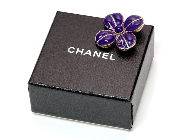 Chanel Maison Gripoix Glass Camellia Flower Brooch
