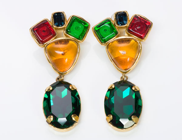 Chanel 1980's Gripoix Crystal Drop Earrings