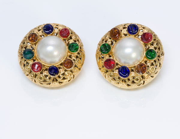 CHANEL 1960's Maison Gripoix Glass Pearl Filigree Earrings