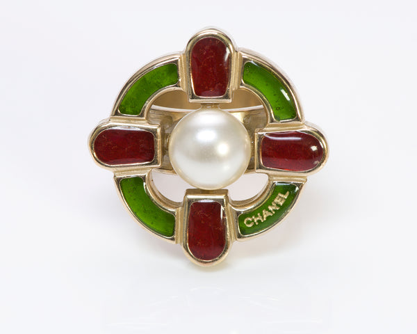 Chanel CC Gripoix Pearl Cocktail Ring