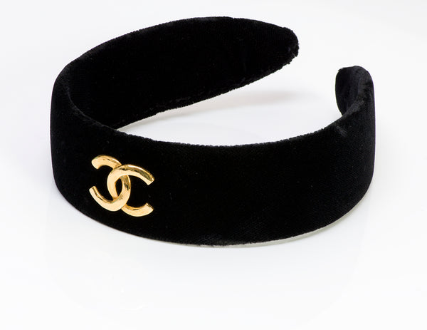 CHANEL CC Black Velvet Hair Headband
