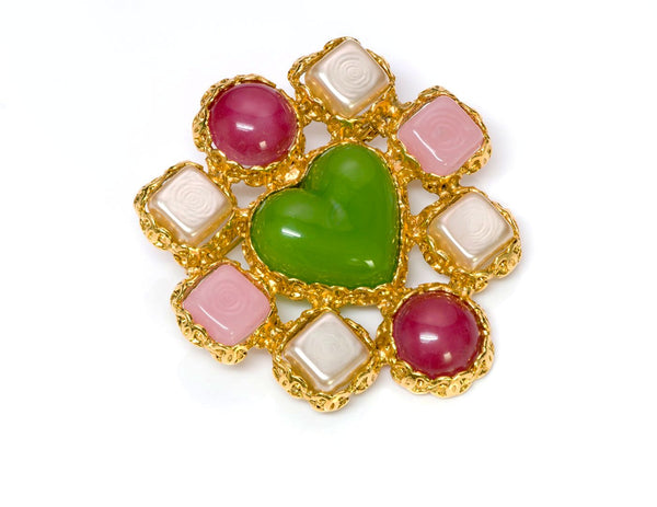 Chanel Gripoix Heart Brooch