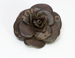 Chanel CC Graffiti Brown Leather Camellia Flower Brooch