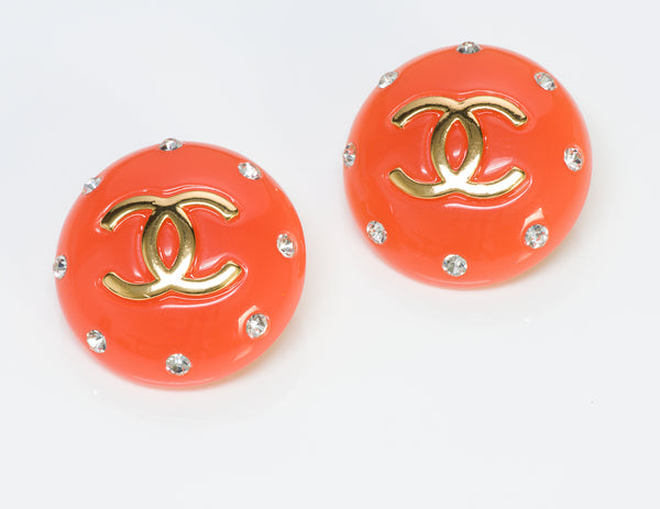 Chanel CC Orange Lucite Earrings 1980's