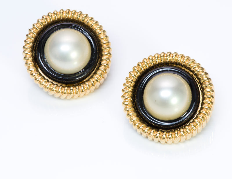 Chanel 1960's Gold Tone Black Enamel Pearl Round Earrings