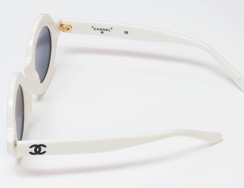 Iconic Chanel CC 1993 White Round 01945 Sunglasses