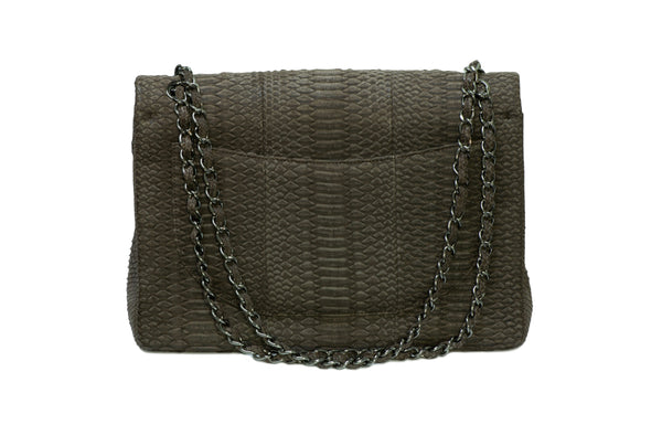 Chanel CC Double Flap Gray Snakeskin Maxi Bag 2