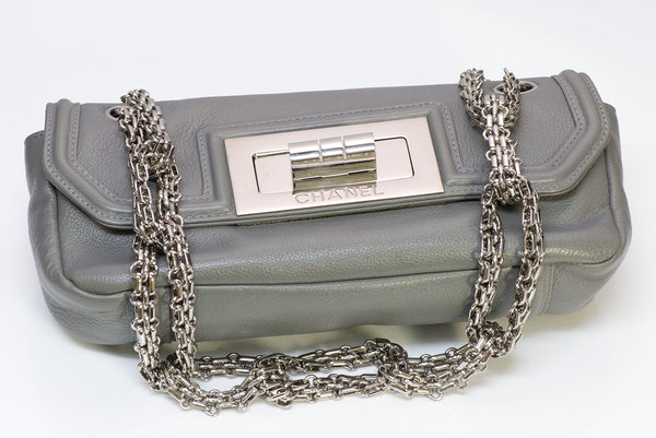 CHANEL CC Gray Leather Mademoiselle Lock Small Flap Bag
