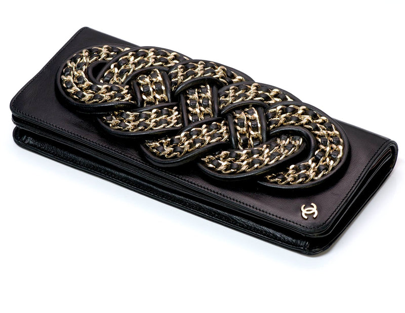 Chanel CC Black Leather Chain Clutch Bag 1