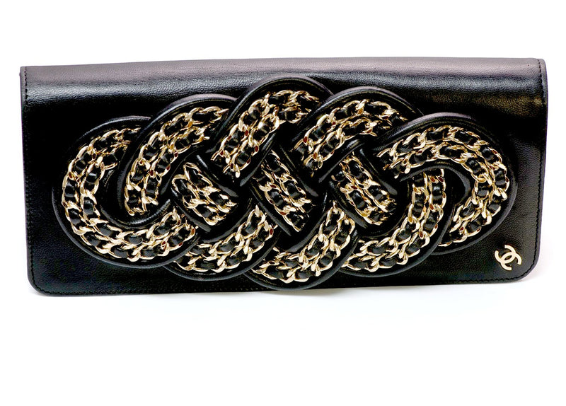 Chanel CC Black Leather Chain Clutch Bag 2