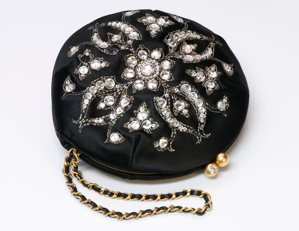 Chanel Satin Beaded Crystal Round Clutch Bag