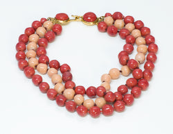 Chanel Gripoix Glass Coral Bead Necklace