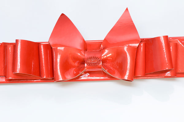 Chanel CC Spring Red Patent Leather Bow Belt
