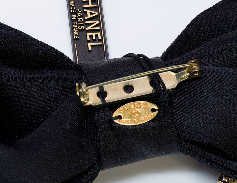 Chanel CC Black Satin Bow Camellia Charm Pin Brooch