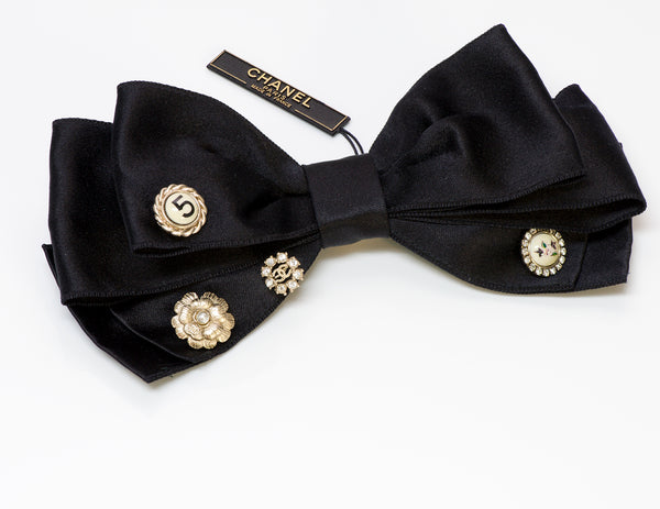 Chanel CC Satin Bow Camellia Charm Pin Brooch