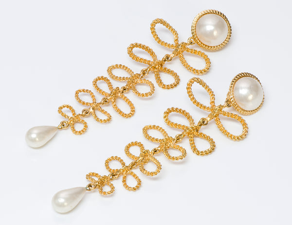 Chanel 1960's Long Gold Tone Bow Pearl Earrings