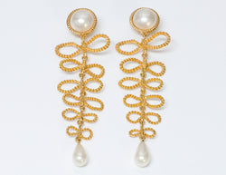 Vintage Chanel 1960's Extra Long Gold Tone Bow Pearl Earrings