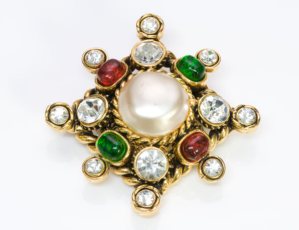 CHANEL 1980's GRIPOIX Glass Pearl Starburst Brooch