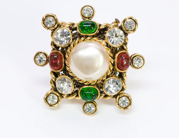CHANEL GRIPOIX Glass Pearl Starburst Brooch