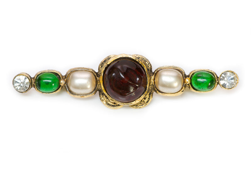 Chanel 1985 Gripoix Green Red Glass Pearl Pin Brooch