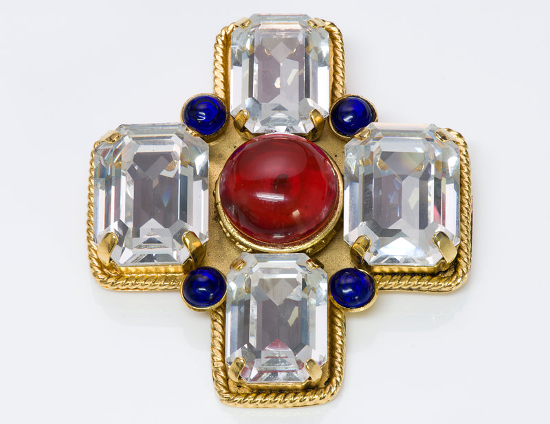Chanel Gripoix Red Blue Glass Cross Brooch