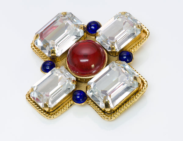 Chanel 1980's Gripoix Cross Brooch