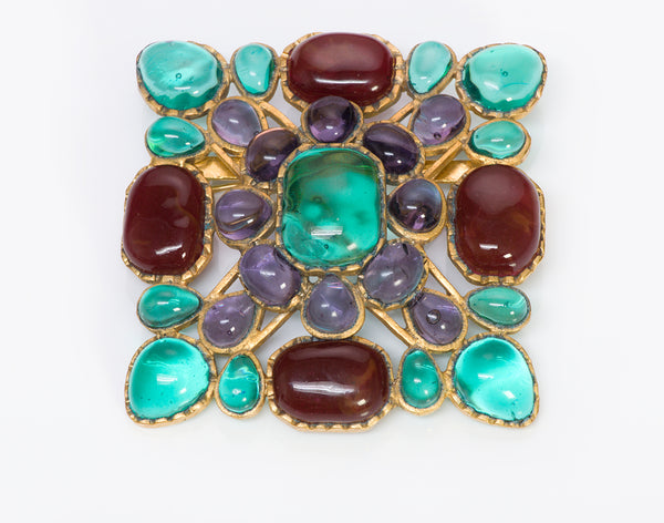 CHANEL Spring 1994 Maison Gripoix Green Red Purple Glass Brooch