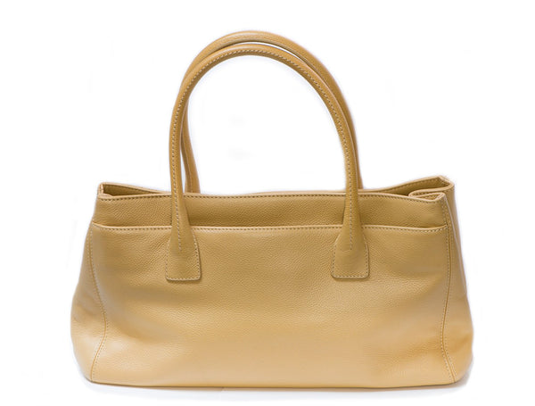 CHANEL CC Beige Mademoiselle Cerf Executive Tote Bag