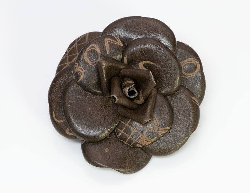 Chanel CC Graffiti Brown Leather Camellia Flower Brooch1