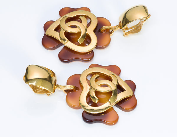 Chanel CC Faux Tortoise Clover Heart Earrings