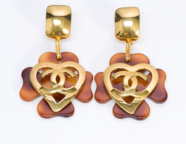 Chanel CC 1995 Faux Tortoise Clover Heart Earrings