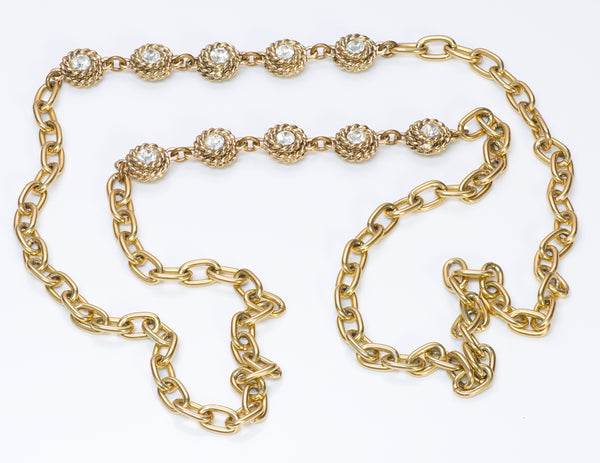 Chanel 1980's Gold Tone Chain Camellia Crystal Necklace