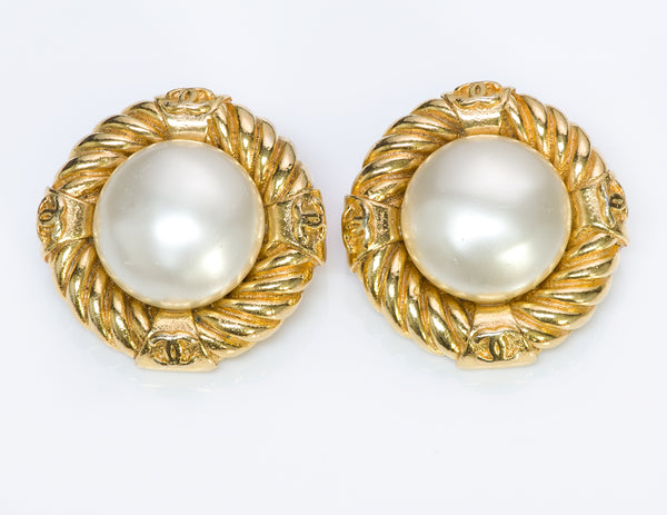 Chanel CC Rope Pearl Earrings