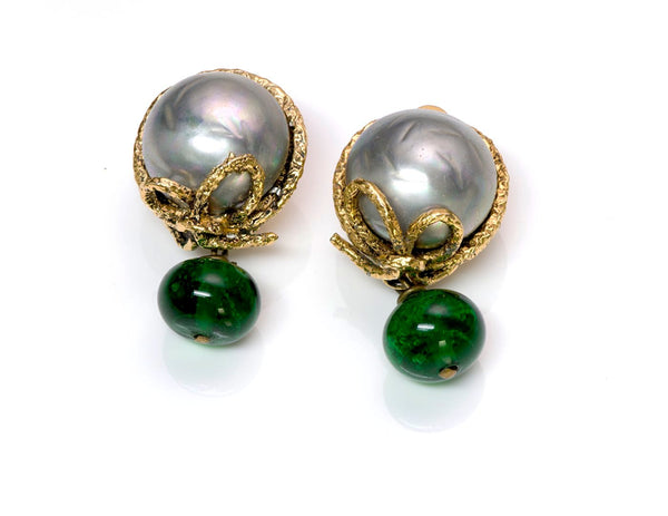 Vintage Chanel Gray Pearl Green Gripoix Glass Earrings