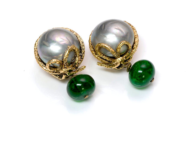 Vintage Chanel 1970's Gray Pearl Green Gripoix Glass Earrings