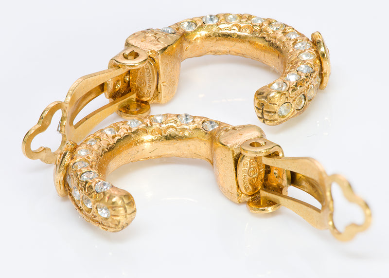 Chanel CC 2001 Gold Tone Crystal Hoop Earrings2