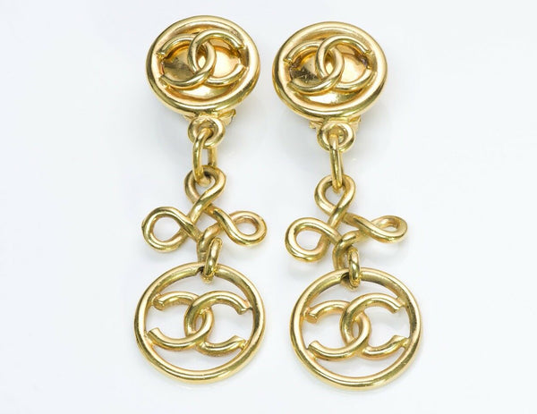 Chanel CC Gold Tone Earrings 1993 Collection