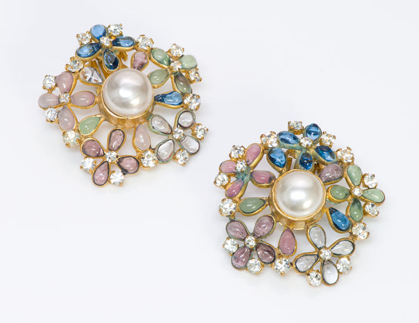 Chanel Gripoix 1970's Pearl Flower Earrings