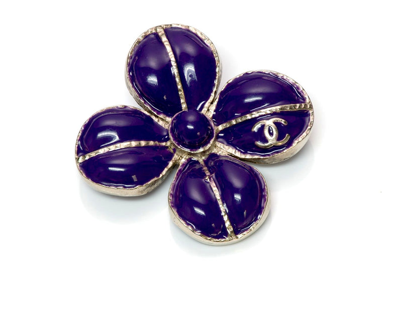 Chanel Maison Gripoix Glass Camellia Flower Brooch 2