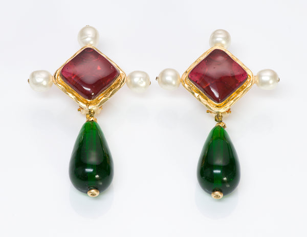 Chanel Gripoix Red Green Glass Pearl Drop Earrings